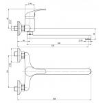 A10 35 10/150 Slim Dřezová nástěnná baterie, ramínko ploché 300 mm