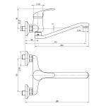 A10 35 20/150 Slim Dřezová nástěnná baterie, ramínko ploché S 250 mm