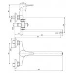 A10 36 11/150 Slim Vanová nástěnná baterie bytové jádro, ramínko ploché 300 mm