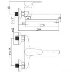 D10 35 00/150 Tira Dřezová nástěnná baterie, ramínko ploché 200 mm