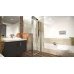 DELTA ROCKY 100x80 Clear Well Sprchový kout se zalamovacími dveřmi a mramorovou vaničkou