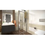 DELTA ROCKY 90x100 Clear Well Sprchový kout se zalamovacími dveřmi a mramorovou vaničkou