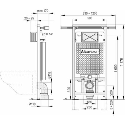 Instalační set AlcaPLAST A102+M70