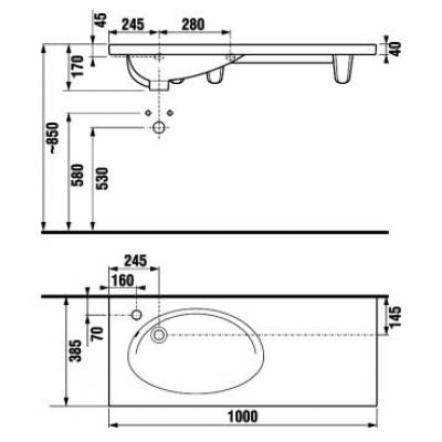 Nábytkové asymetrické umyvadlo 100cm s otvorem pro baterii vpravo 8.1221.9.000.106.1