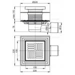 Podlahová vpusť boční UNIVERSAL 150×150 APV3444