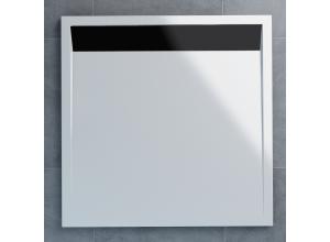 WIQ 080 06 04 SanSwiss Sprchová vanička čtvercová 80×80 cm bílá, kryt černý