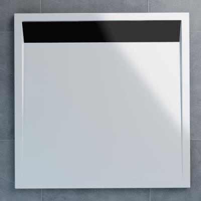 WIQ 100 06 04 SanSwiss Sprchová vanička čtvercová 100×100 cm bílá, kryt černý