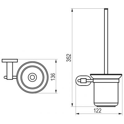 Držák s nádobkou a  WC štětkou (sklo) CR 410