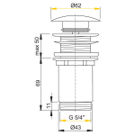A395 AlcaPlast Umyvadlová výpusť click/clack 5/4˝ kovová zátka velká