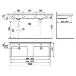 JIKA CUBITO H8144201001041 Dvojumyvadlo 130cm s otvory a s povrchovou úpravou PERLA