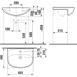 JIKA LYRA PLUS 8.1338.4.000.104.1 Umyvadlo do nábytku 65×48 cm sotvorem