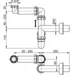 A434 AlcaPlast Sifon pro umyvadlo prostorově úsporný spřevlečnou maticí 5/4˝