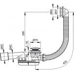 A506KM Sifon vaničkový s přepadem click clack chrom