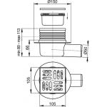 APV26 Podlahová vpusť boční nerez snížená 105×105/50