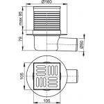 APV31 Podlahová vpusť boční nerez 105×105/50