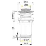 A394 AlcaPlast Umyvadlová výpusť click/clack 5/4˝ kovová zátka malá