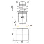 A393 AlcaPlast Umyvadlová výpusť click/clack 5/4˝ kovová hranatá zátka