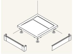 PWIL 090 090 04 SanSwiss Přední panel L hliníkový pro čtvercovou vaničku 90×90 cm - bílý