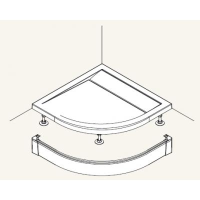 PWIR 55 080 50 SanSwiss Přední panel hliník pro čtvrtkruhovou vaničku 80×80 cm - aluchrom