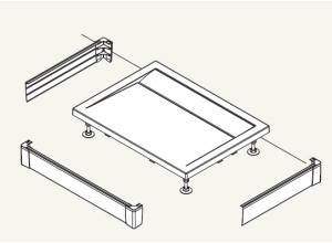 PWIU 90 120 90 04 SanSwiss Panel U hliníkový pro obdélníkovou vaničku 90×120 cm - bílý