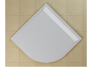 WIR 55 090 04 04 SanSwiss Sprchová vanička čtvrtkruhová 90 cm bílá, kryt bílý