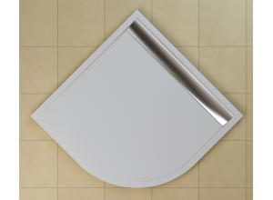 WIR 55 100 50 04 SanSwiss Sprchová vanička čtvrtkruhová 100 cm bílá, kryt aluchromový