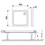 RAVAK PERSEUS PRO 90 FLAT Sprchová vanička čtvercová hladká 90 cm - bílá