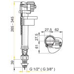 A18 3/8˝ AlcaPlast Napouštěcí ventil spodní kovový závit