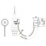 MPO11 Oddálené pneumatické splachování ruční do zdi leštěný chrom