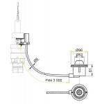 MPO12 Oddálené pneumatické splachování nožní do podlahy kov