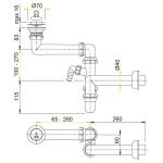 A870P Prostorově úsporný dřezový sifon spřípojkou