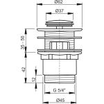 A39 AlcaPlast Umyvadlová výpusť click/clack 5/4˝ kovová malá zátka