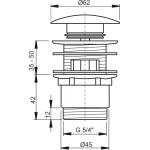 A390 AlcaPlast Umyvadlová výpusť click/clack 5/4˝ kovová velká zátka