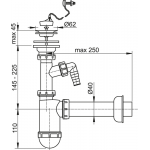 A41PR Sifon pro umyvadlo s nerezovou mřížkou pr.63mm, přípojka ařetíz