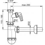 A430P Sifon pro umyvadlo s převlečnou maticí 5/4˝a přípojkou