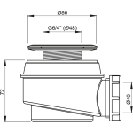 A46/60 Sifon vaničkový s nerezovou mřížkou pr.60mm