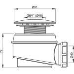 A47B/60 Sifon vaničkový bílý pr.60mm