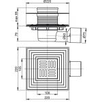 APV3344 Podlahová vpusť boční UNIVERSAL 100×100