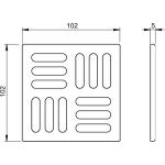MPV001 Designová mřížka mosaz-chrom 105×105/50