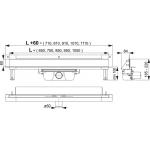 APZ5-SHADE-650 Stěnový žlab s krytem SHADE nerez matný