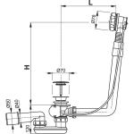 A550KM Vanový odtokový komplet s ovládáním kov chrom