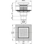 APV4444 Podlahová vpusť spodní UNIVERSAL 150×150