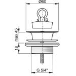 A439 Umyvadlová výpusť 5/4˝ celokovová