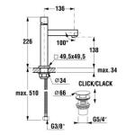 JIKA CUBITO 3.1142.8.004.002.1 Umyvadlová stojánková baterie