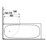 2.5642.5.002.668.1 CUBITO Vanová zástěna jednodílná 75 x 140 cm P, transparent