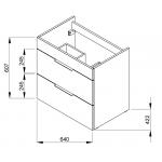 4.5360.2.176.302.1 CUBE Skříňka s umyvadlem 65 cm, s 2 zásuvkami