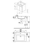 4.5361.1.176.300.1 CUBE Skříňka s umyvadlem 55 cm, s 2 dveřmi