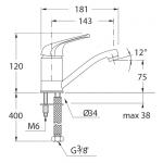 JIKA LYRA 3.1127.1.004.010.1 Dřezová baterie s krátkým otočným ramínkem