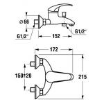JIKA LYRA 3.2127.7.004.000.1 Vanová nástěnná baterie s pohyblivou roztečí