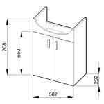 Jika LYRA PACK 4.5195.1.432.300.1 Skříňka s 2 dveřmi včetně umyvadla 53 cm